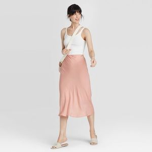 A New Day Pink Mid-Rise Satin Slip Skirt